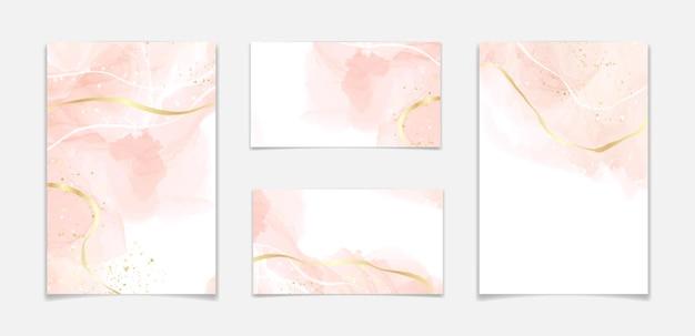 Streszczenie zakurzony rumieniec płynny akwarela tło ze złotymi pęknięciami. pastelowy różowy marmurowy efekt rysowania tuszem alkoholowym. szablon projektu ilustracji wektorowych na zaproszenie na ślub