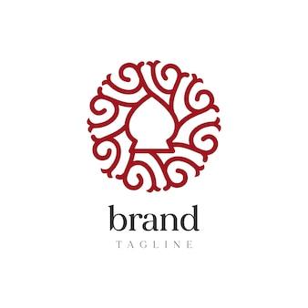 Streszczenie zaokrąglone logo, styl formalny vintage logo.