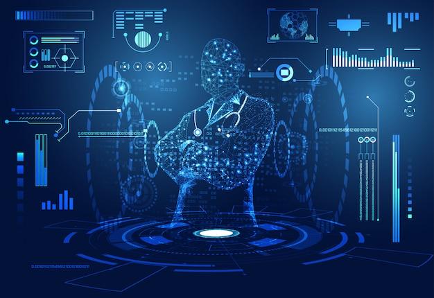 Streszczenie zdrowie nauki medyczne lekarz cyfrowy futurystyczny wirtualny