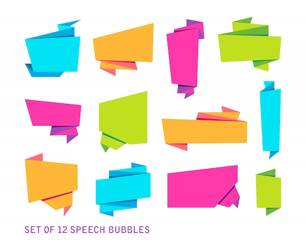 Streszczenie zestaw banerów, złożoną papierową taśmę lub oryginalne bąbelki głosowe