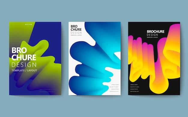 Streszczenie zestaw broszur, kolorowy płyn płynący w stylu holograficznym, plakat