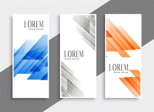 Streszczenie zestaw geometrycznych banerów