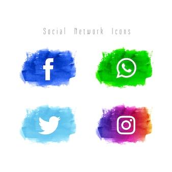 Streszczenie zestaw ikon akwarela sieci społecznej
