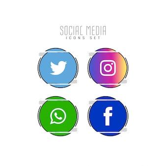 Streszczenie zestaw ikon mediów społecznych