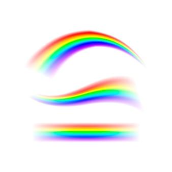 Streszczenie zestaw rainbow w różnych kształtach. widmo światła, siedem kolorów na białym tle na przezroczystym tle na białym tle