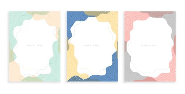 Streszczenie zestaw szablonów minimalnych plakatów memphis