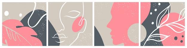 Streszczenie zestaw z twarz kobiety, sylwetka, elementy kwiatowe jeden rysunek linii.