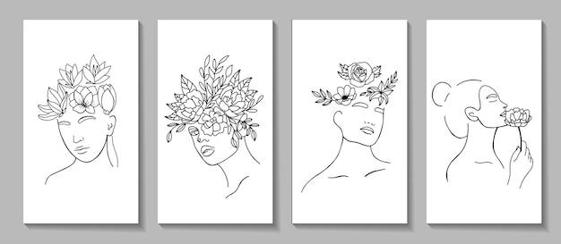 Streszczenie zestaw z twarz kobiety, sylwetka, grafika liniowa elementy kwiatowe