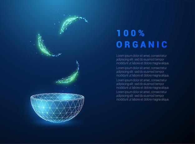 Streszczenie zielone liście wchodzące w niebieską miskę. koncepcja żywności ekologicznej. projekt w stylu low poly.