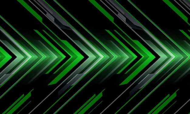 Streszczenie zielony szary czarny metaliczny strzałka obwód cyber geometryczny kierunek nowoczesna technologia futurystyczna styl tła