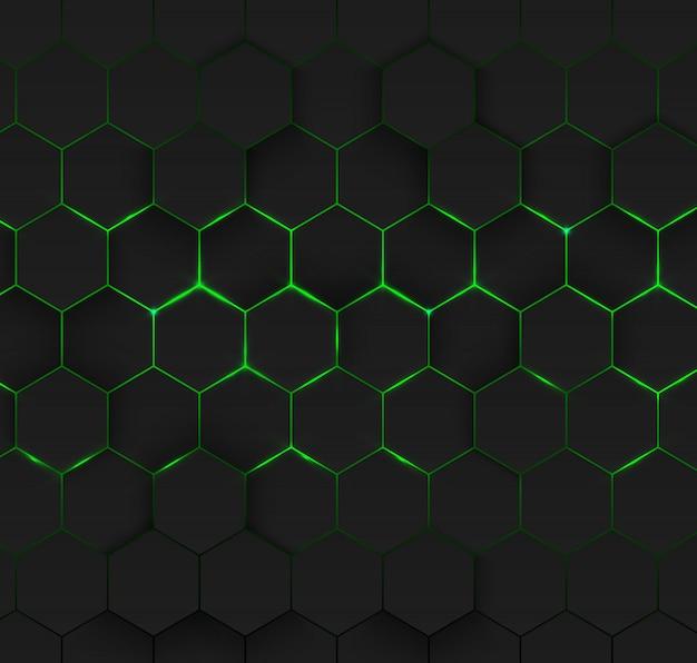 Streszczenie zielony sześciokątny. futurystyczna technologia