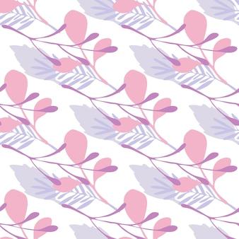 Streszczenie zima liście i gałęzie wektor wzór na białym tle. płaski styl tła na okładki tekstylne lub książki, tapety, projekty, grafiki, opakowania