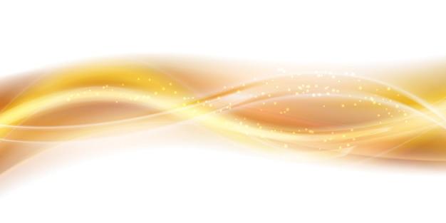Streszczenie złota fala dymu backround stylizowany ruch falisty ilustracja miękkie żółte jedwabiste linie