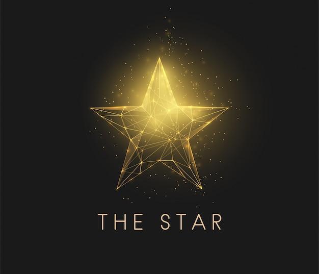 Streszczenie złota gwiazda. konstrukcja w stylu low poly