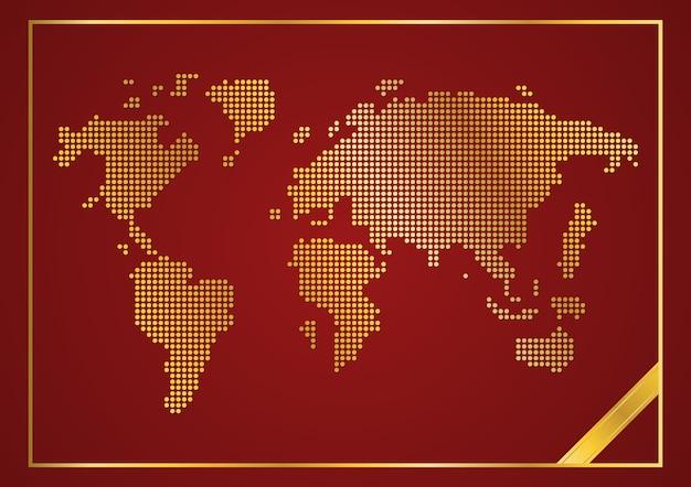 Streszczenie złota kropka okrągła mapa świata