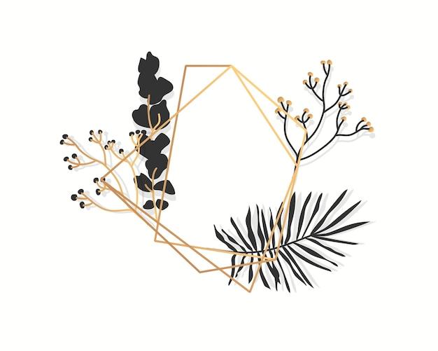 Streszczenie złota rama kwiatowy z egzotycznymi tropikalnymi liśćmi. luksusowy wielościan geometryczny