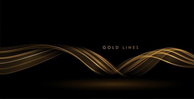Streszczenie złote fale błyszczący złoty ruchomy element projektu na ciemnym tle dla karty z pozdrowieniami