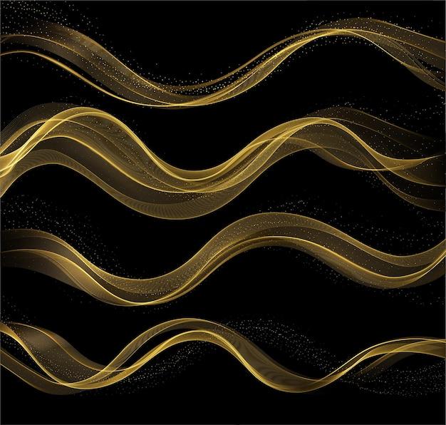 Streszczenie złote fale błyszczący złoty ruchomy element projektu z efektem brokatu na ciemnym tle na kartkę z życzeniami i kupon rabatowy