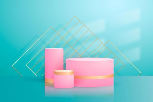 Streszczenie złote geometryczne podium z kształtami