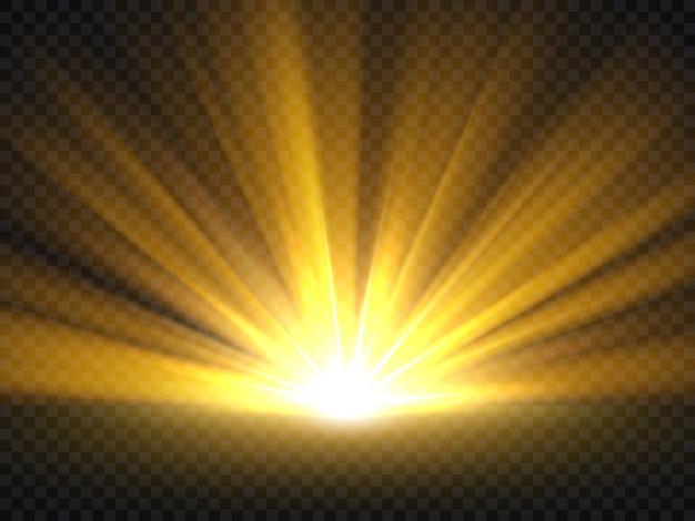 Streszczenie złote jasne światło. ilustracja wektorowa wybuch złoty połysk na białym tle