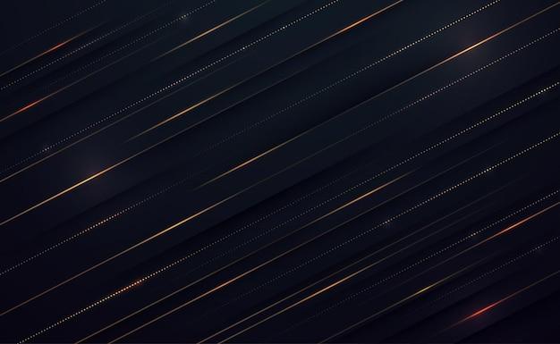 Streszczenie złote linie i światło na ciemnym tle