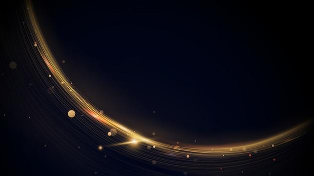 Streszczenie złote linie musujące pierścionek z efektem brokatu w ciemności