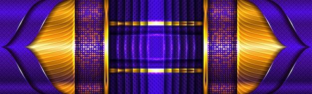 Streszczenie złote linie światła na fioletowym niebieskim tle