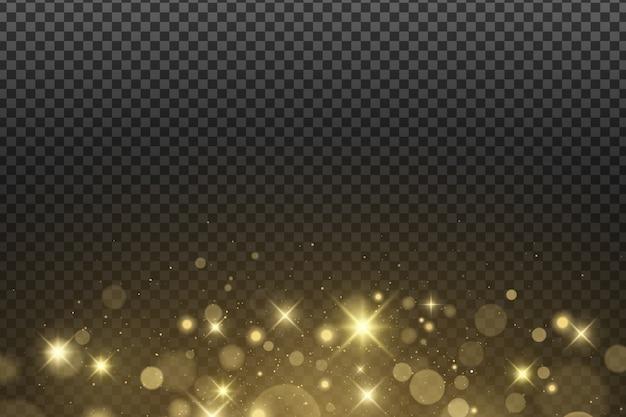 Streszczenie złote światła bokeh na białym tle. lśniące gwiazdy i blask. złoty brokat.