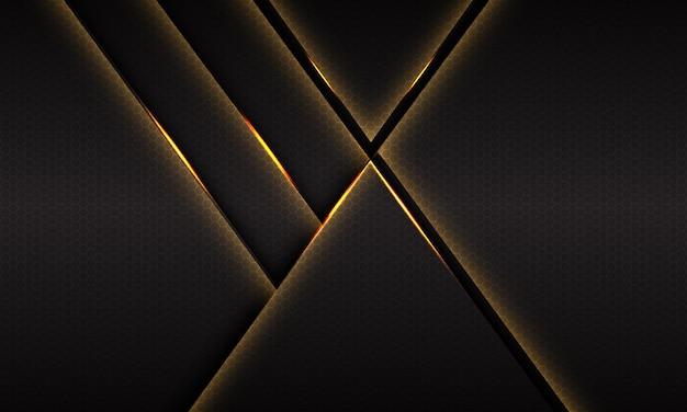Streszczenie złote światło na ciemnoszarym metalicznym sześciokątnym projekcie nowoczesnego luksusowego futurystycznego tła