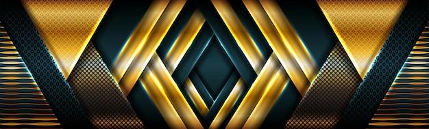 Streszczenie złote światło na ciemnozielonym nowoczesnym futurystycznym banerze