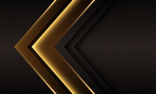 Streszczenie złote światło strzałki kierunek geometryczny sześciokątny wzór siatki modernfuturystyczne tło