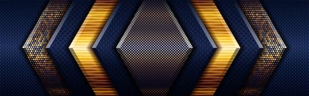Streszczenie złote światło wielokątne na ciemnoniebieskim tle geometrycznym