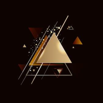 Streszczenie złote tło geometryczne z trójkątami