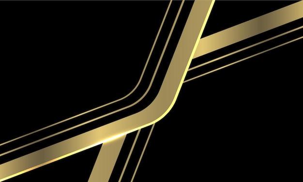 Streszczenie złotej linii strzałki krzywej nakładają się na czarnym nowoczesnym, luksusowym futurystycznym tle