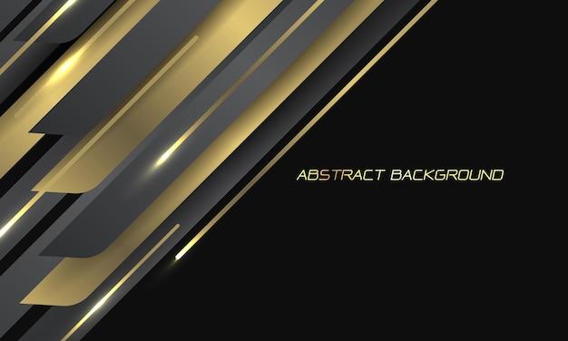 Streszczenie złoto-szara metaliczna linia geometryczna kreska na czarno z pustą przestrzenią nowoczesne luksusowe futurystyczne tło