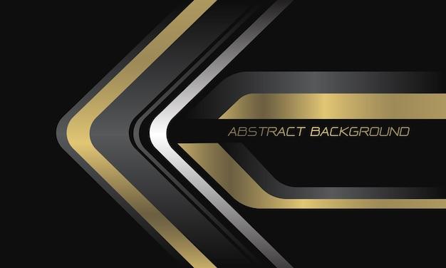 Streszczenie złoto-szara srebrna strzałka kierunek na czarnym nowoczesnym luksusowym futurystycznym tle technologii