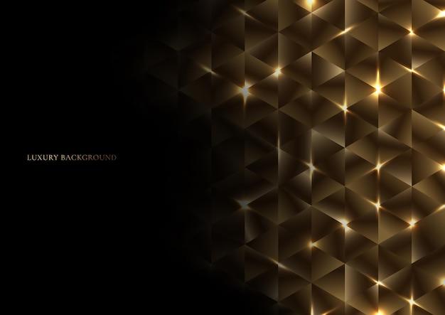 Streszczenie złoty geometryczny trójkąt kształt luksusowy wzór z oświetleniem na czarnym tle.
