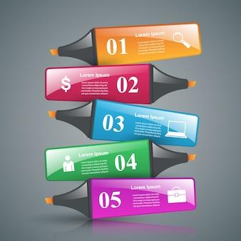 Streszczenie znacznik rysunek 3d infografiki