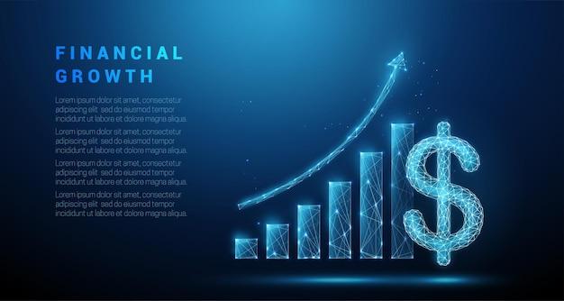 Streszczenie znak dolara i wykres dorastania. projekt w stylu low poly. koncepcja strategii biznesowej.