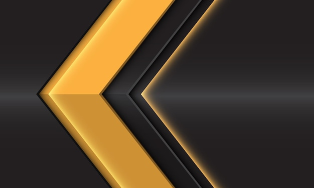 Streszczenie żółty błyszczący kierunek strzałki na ciemnoszarym metalicznym projekcie nowoczesnej futurystycznej ilustracji tła.