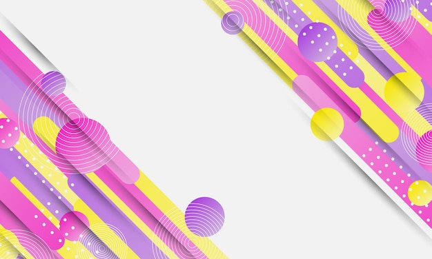 Streszczenie żółty różowy i fioletowy zaokrąglony kształt tła ilustracji wektorowych