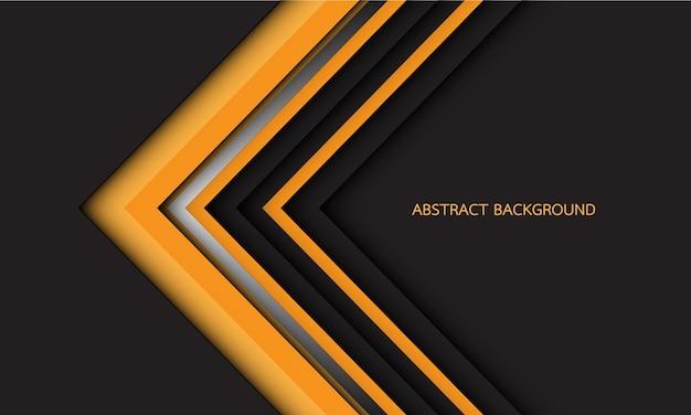 Streszczenie żółty srebrny czarny kierunek strzałki na ciemnoszarym z pustą przestrzenią nowoczesnym futurystycznym tłem