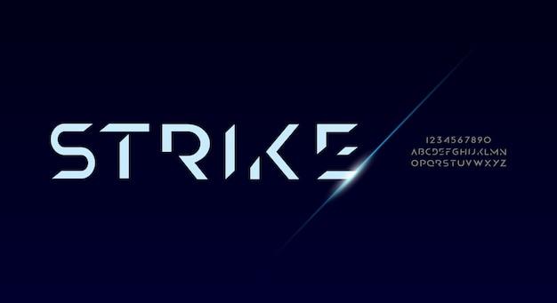 Strike, abstrakcyjna, futurystyczna czcionka alfabetu z motywem technologicznym. nowoczesny minimalistyczny projekt typografii
