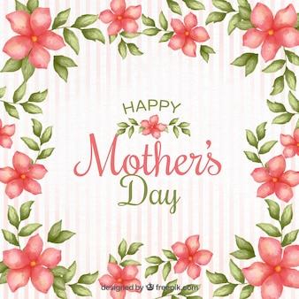 Striped matki w tle dzień z kwiatami akwarela