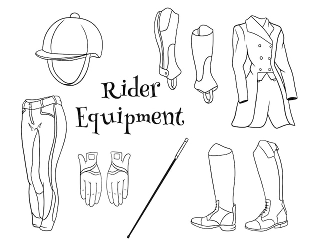 Strój jeźdźca zestaw ubrań dla dżokejów spodnie pedjak bicz kask w stylu linii kolorowanki. zbiór ilustracji do projektowania i dekoracji.