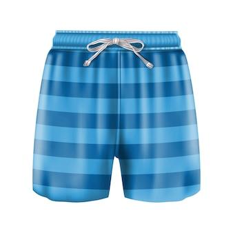 Strój kąpielowy bokserki męskie w paski niebieskie. pojedynczo na białym tle.