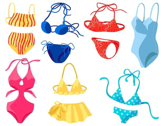 Stroje kąpielowe damskie, bikini, stroje kąpielowe jednoczęściowe. kolekcja ręcznie rysowane ilustracje wektorowe. clipartów kolorowy kreskówka na białym tle. elementy do projektowania.
