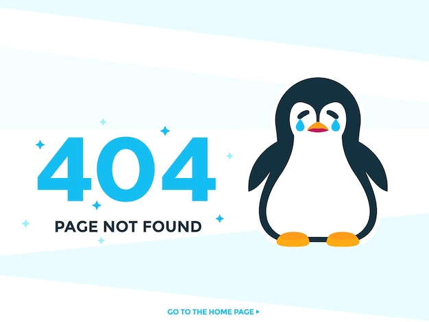 Strona 404 nie została znaleziona szablon wektora z płaczącym pinguin