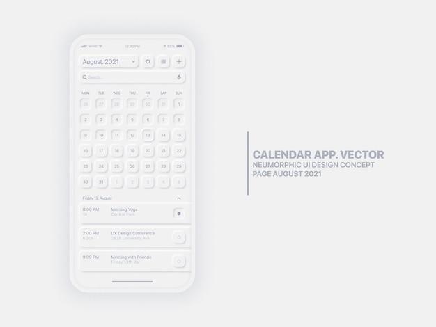 Strona aplikacji mobilnej kalendarza sierpień z koncepcyjnym interfejsem użytkownika menedżera zadań neumorphic design