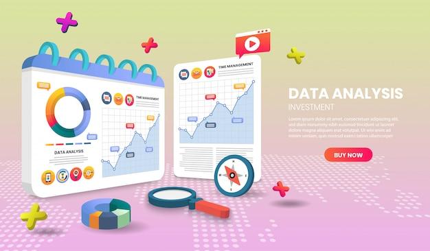 Strona aplikacji szablonów strony docelowej analizy danych do banerów internetowych, infografik, obrazów bohaterów. obraz bohatera na stronie internetowej.